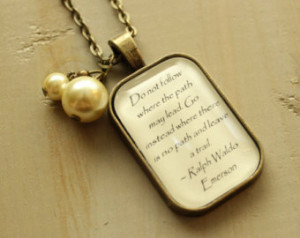 Rectangle Antique Bronze and Glass Ralph Waldo Emerson Quote Pendant ...