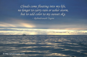 ... usher storm, but to add color to my sunset sky. ~ Rabindranath Tagore