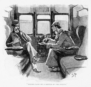 Book Illustration Depicting Sherlock Holmes and Dr. Watson in a Train ...