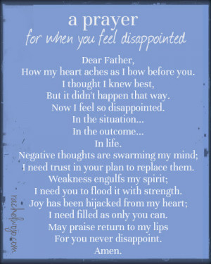 Prayer for When You Feel Disappointed and A Special Request