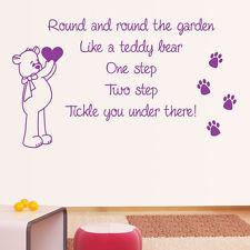 ... Round The Garden Nursery Rhyme - Wall Sticker Art Quote Vinyl Transfer