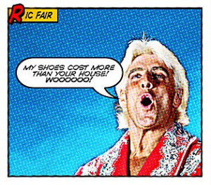 ric flair bragging comic shoes house spelling