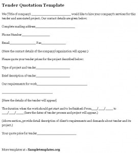 Tender Quotation Template