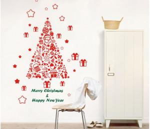 christmas tree happy new year vinly PVC window sticker art drawing ...
