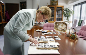 Rep Marcy Kaptur D Toledo looks over family pictures on her