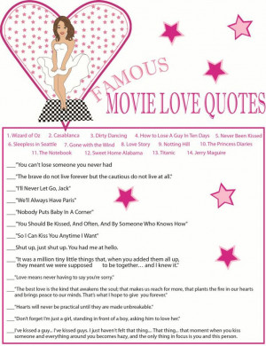 Bridal Shower Game Famous Move Quotes