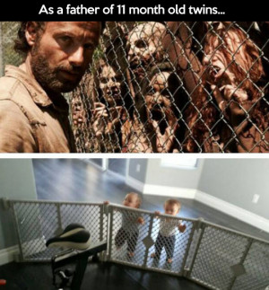 funny picture walking dead babies twins comparison wanna joke.com