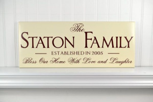 Personalized Family Name Sign Wedding Gift - Wooden Family Quote ...