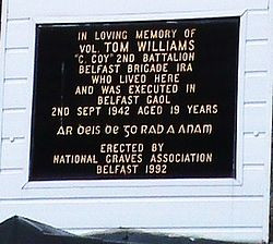 Plaque over 46 Bombay Street - where Tom Williams lived with his ...