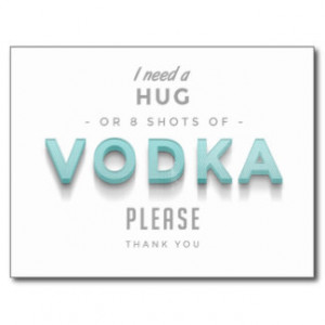 Vintage Vodka Hug Funny Quote Postcard