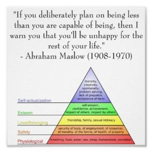 Abraham Maslow Quote & Hierarchy of Needs Posters by levinchristensen