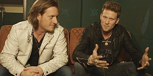 Tyler Hubbard (left) and Brian Kelley (right) at a Walmart interview