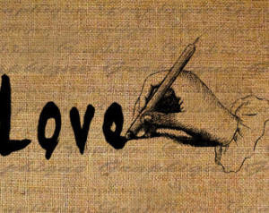 Vintage Love Pictures With Quotes The word love quote burlap