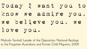 ... Apology to the Forgotten Australians and Former Child Migrants, 2009