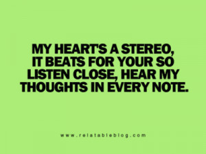 heart, quotes, stereo heart, text