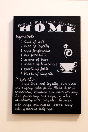 Recipe for a Happy Home - Quote, Typography art, Wall hanging, Word ...