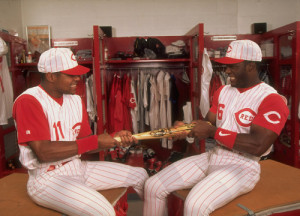 Barry Larkin and Ron Gant have a tug-of-war in the Reds locker room ...