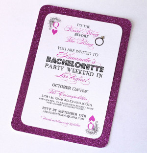 Stella Las Vegas Bachelorette Party Invitation -25- Hot Pink Glitter ...