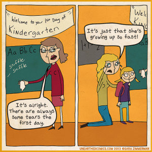 Parenting cartoon about the first day of kindergarten