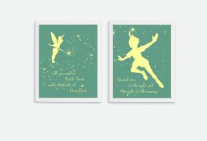 Printable Tinker Bell & Peter Pan Quote Instant Download Kids Art ...