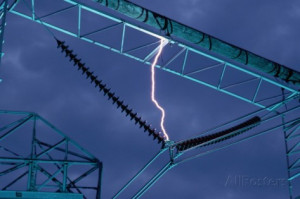 Lightning Bolt Striking Power Cable Photographic Print