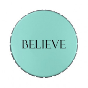 Believe Quotes Aqua Blue Inspiration Faith Quote Jelly Belly Tins