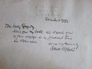 Manuscript note from Jack Yeats laid into the ZSR copy of Life in the ...