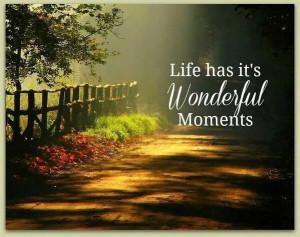 Life has its wonderful moments