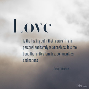 Feeling the security and constancy of love from a spouse, a parent, or ...