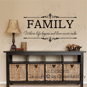 Family Where Life Begins & Love Never Ends Wall Quote Floral Sticker ...