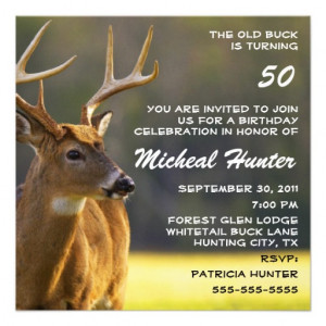Hunting Hunter Buck Animal Birthday Party Funny Custom Announcement