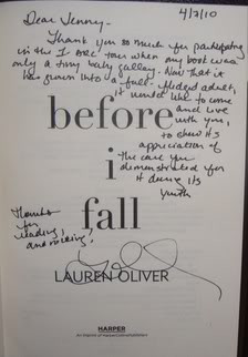 Before I Fall by Lauren Oliver ( Signed . Thank you so much, Lauren ...