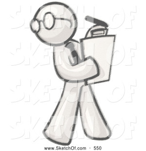 of a Sketched Design Mascot Man Character Supervisor Wearing Glasses ...