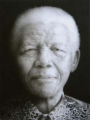Paul Emsley Nelson Mandela. Black chalk and pencil drawing. 117 x 88.5 ...