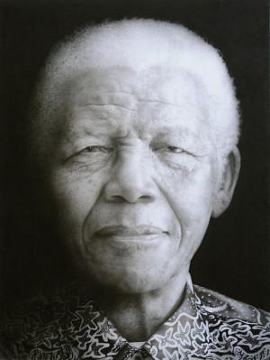 Paul Emsley Nelson Mandela. Black chalk and pencil drawing. 117 x 88.5 ...
