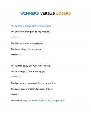 Related image with Winners And Losers Quotes