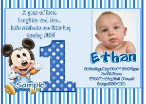 JB26 Baby Mickey Mouse 1st Birthday Invitations