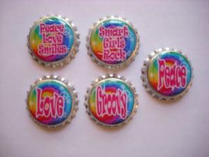 Groovy tie dye peace sayings sealed bottlecaps