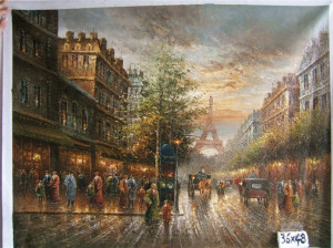 painted oil painting impression streetscape Paris street Eiffel Tower