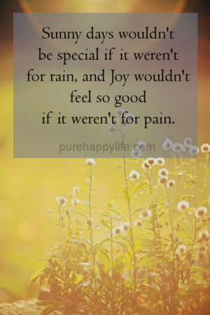 Sunny days wouldn't be special if it weren't for rain, and Joy ...