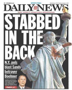 new york daily news john boehner cover blasts house speaker over sandy ...