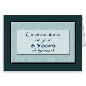 Employee 5 Years of Service Anniversary Cards