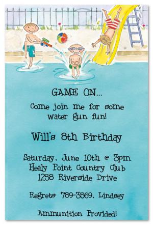 Pool Party Boys Birthday Party Invitations