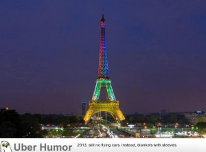 Eiffel Tower lit up in the colours of the South African flag in honour ...