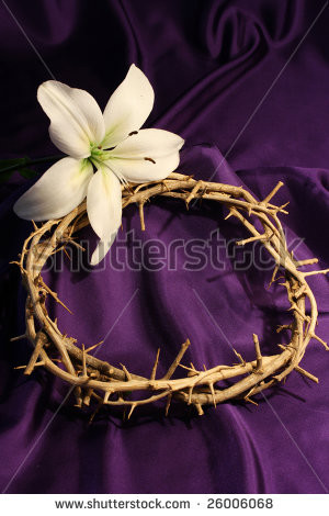 crown of thorns with white lily and purple background and room for ...