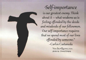 Self-importance is our greatest enemy. Think about it – what weakens ...