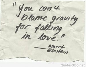 You can't blame gravity for falling in love quote