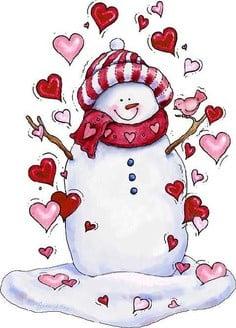 Valentine snowman clip art