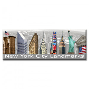 New York City Landmarks Panoramic Photo Magnet Color