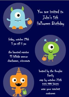 Printable Halloween Themed Birthday Invitations